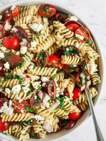Mediterranean Pasta Salad served in a bowl
