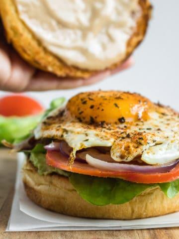 Bangin breakfast burger being served