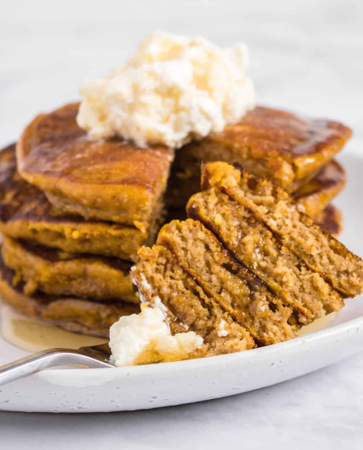 Pumpkin pancakes stack on a fork