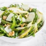 Rocket, Pear and Parmesan Salad close up shot
