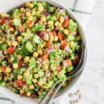 Chickpea avocado salad served in a bowl
