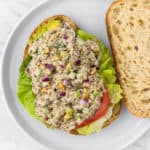 Open sandwich of healthy tuna salad
