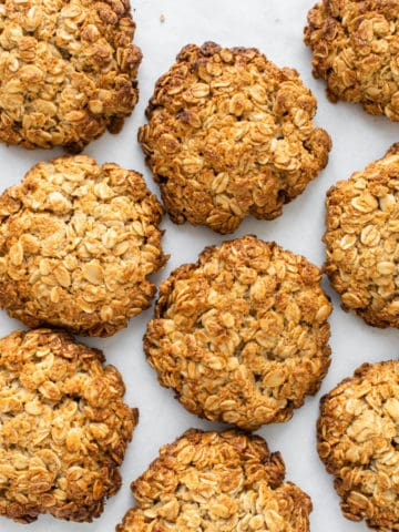 A spread of vegan Anzac Biscuits