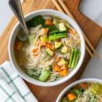 Vegetable noodle soup served in a bowl
