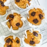 Healthy banana chocolate chip muffins resting on a cooling rack