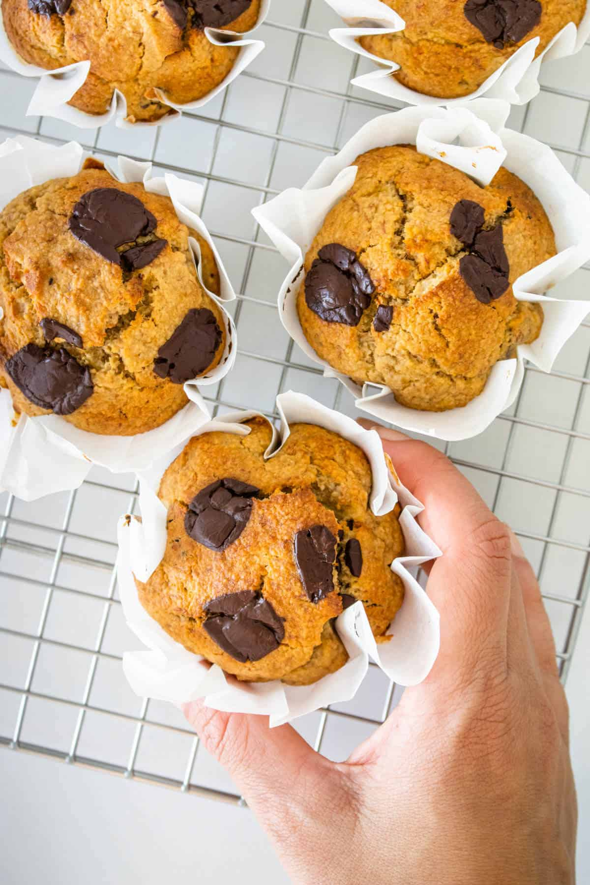 Motion of picking up a healthy banana chocolate chip muffin from the cooling rack